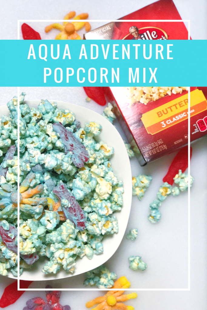 Aqua Adventure Popcorn Recipe - Whip up this delicious popcorn mix for your family and celebrate JUSTICE LEAGUE.