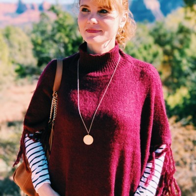 Poncho Outfit Idea: Burgundy + Black and White Stripes