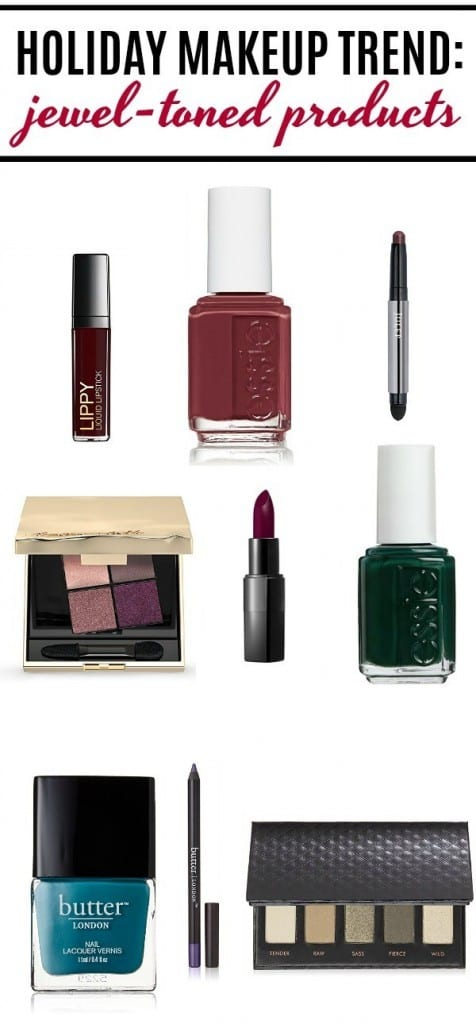 Holiday Makeup Trend: Jewel tones are big this Holiday season! Think dresses and sweaters in emerald, ruby, and amethyst. Not only can you incorporate these colors into your winter wardrobe, but your Holiday makeup looks as well.