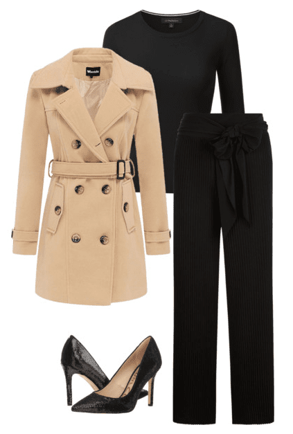 Winter fashion: There's something special about a classic double-breasted camel coat isn't there? Here are a few camel coat outfits for you to try this winter. #winterfashion #winteroutfits #dressy #camelcoat #peacoat