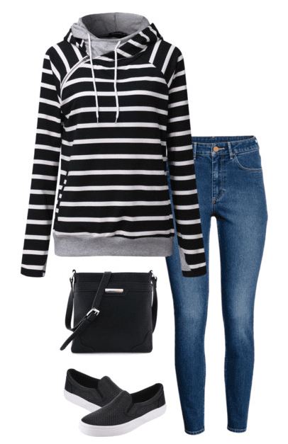 Casual weekend outfit - black and white striped sweatshirt, jeans and slip-on sneakers.