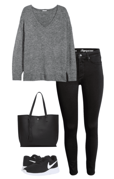 Casual Weekend Outfit Idea - Gray sweater, black jeans, sneakers and black tote bag.