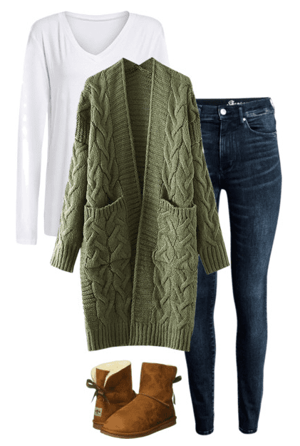 Casual Weekend Outfit - White t-shirt, cozy olive cardigan, jeans and soft boots.