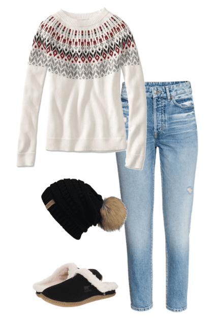 Casual Weekend Outfit Ideas - fair isle sweater, comfy slippers and beanie.