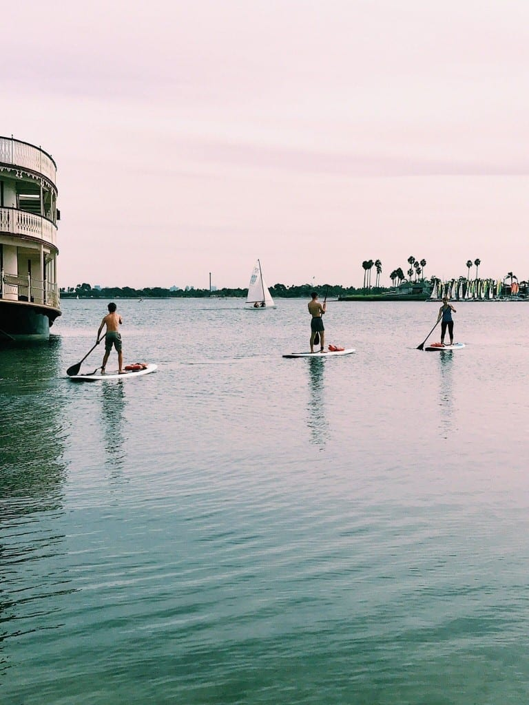 Paddle boarding on Mission Bay in San Diego, California