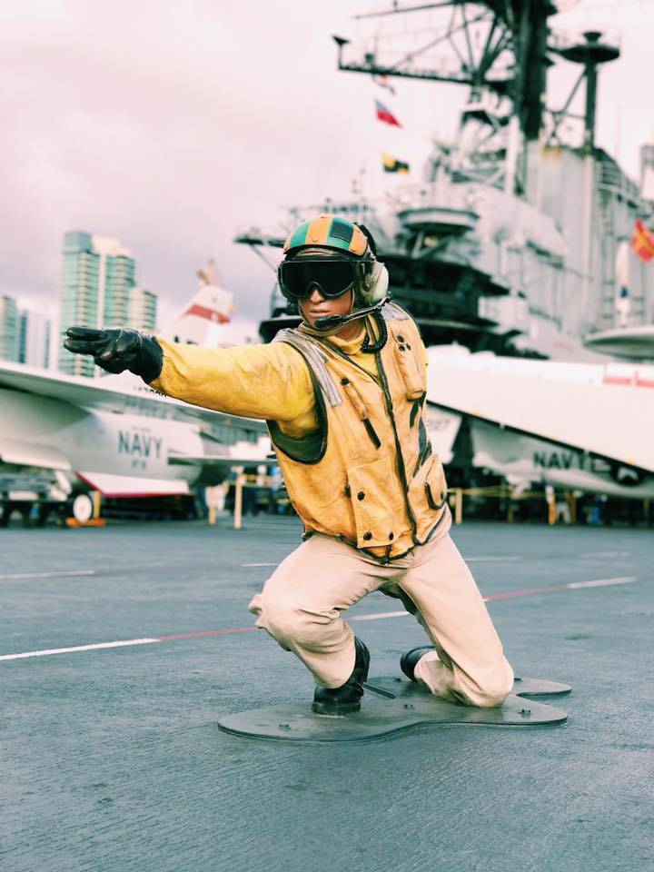 On the flight deck of the USS Midway Museum