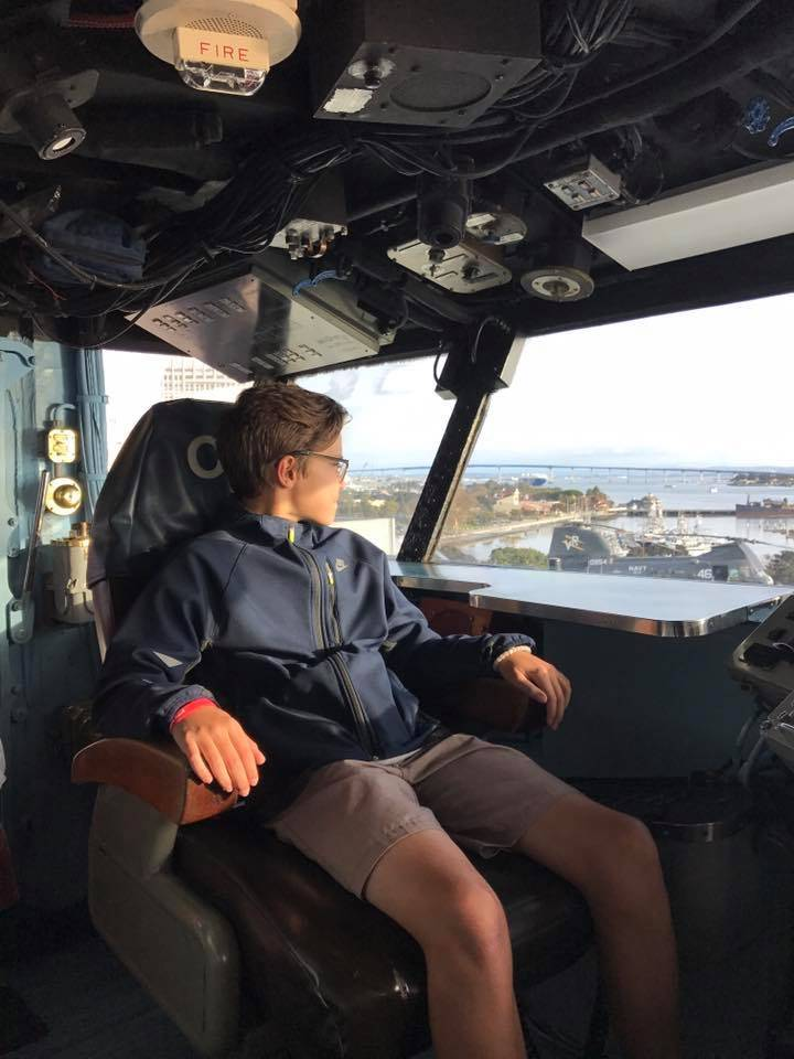 In the captain's chair on the USS Midway Museum