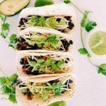 Black Bean Tacos with Dairy Free Avocado Cilantro Lime Sauce