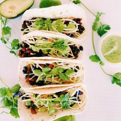 Black Bean Tacos with Dairy Free Avocado Cilantro Lime Sauce