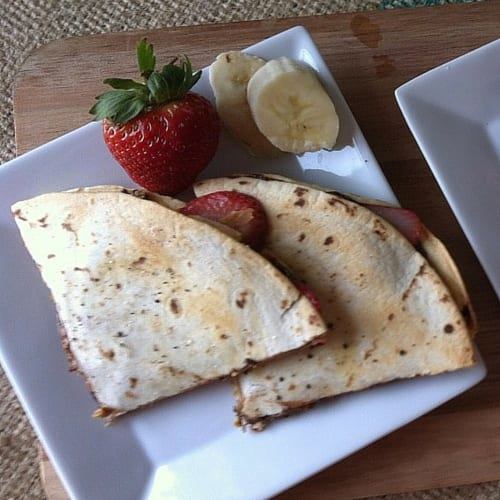 Strawberry and peanut butter quesadilla